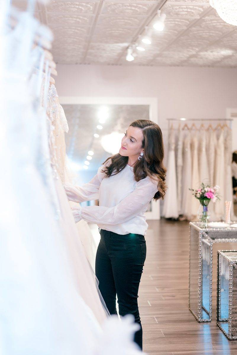 Cincinnati fashion blogger Olivia Johnson of Baubles to Bubbles shopping wedding dresses at Luxe Redux Bridal