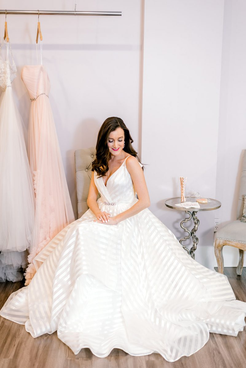 Striped Hayley Paige wedding dress worn by fashion blogger Olivia Johnson from Baubles to Bubbles