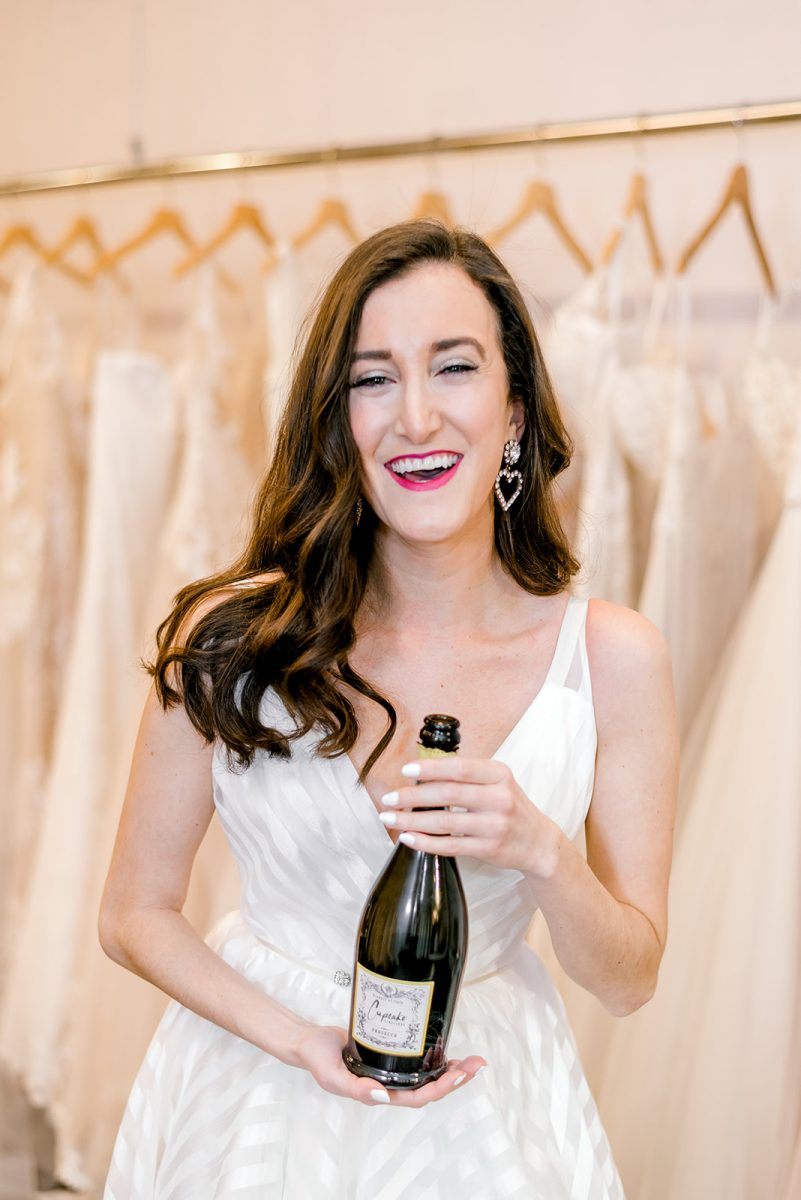Hayley Paige wedding dress worn by Olivia Johnson with champagne