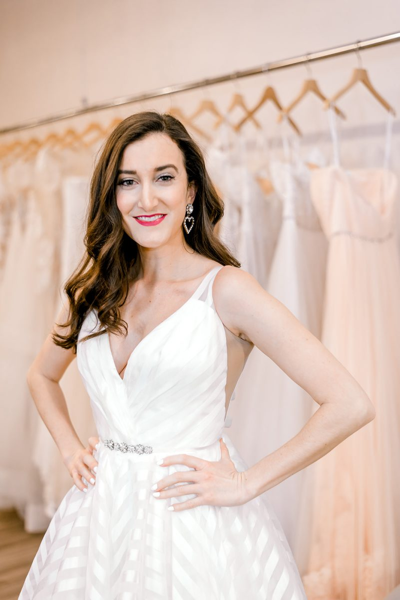 Hayley Paige wedding dress worn by fashion blogger Baubles to Bubbles