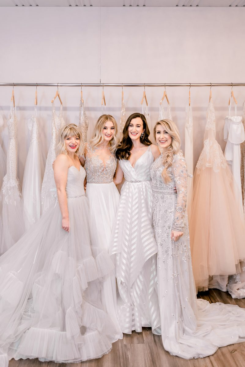 Cincinnati Fashion Bloggers trying on wedding dresses