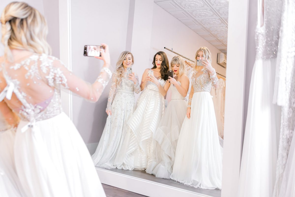 Bridal Dress Shopping in Cincinnati at Luxe Redux Bridal with local fashion blogger Baubles to Bubbles