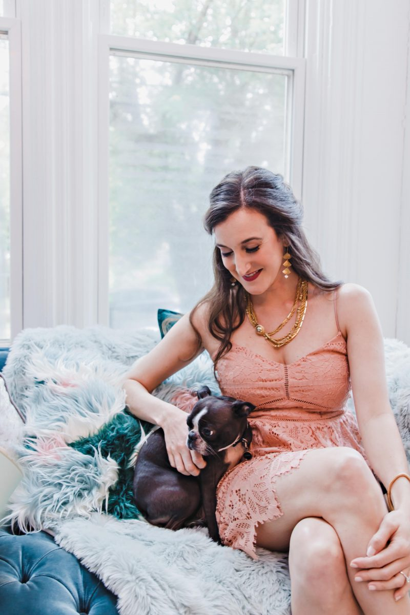 Blogger Olivia Johnson at a bridal shower photoshoot with Borrowed Time Events