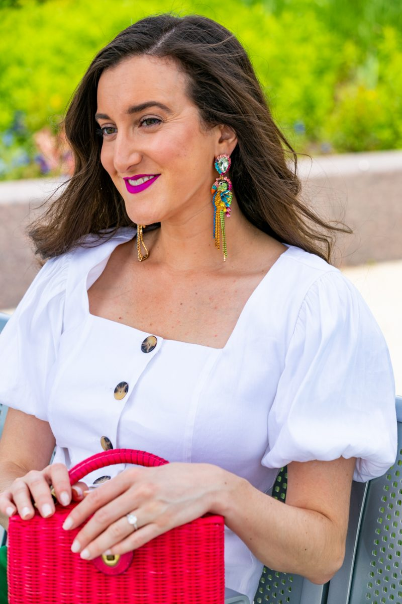 Colorful toucan earrings worn by fashion blogger Baubles to Bubbles