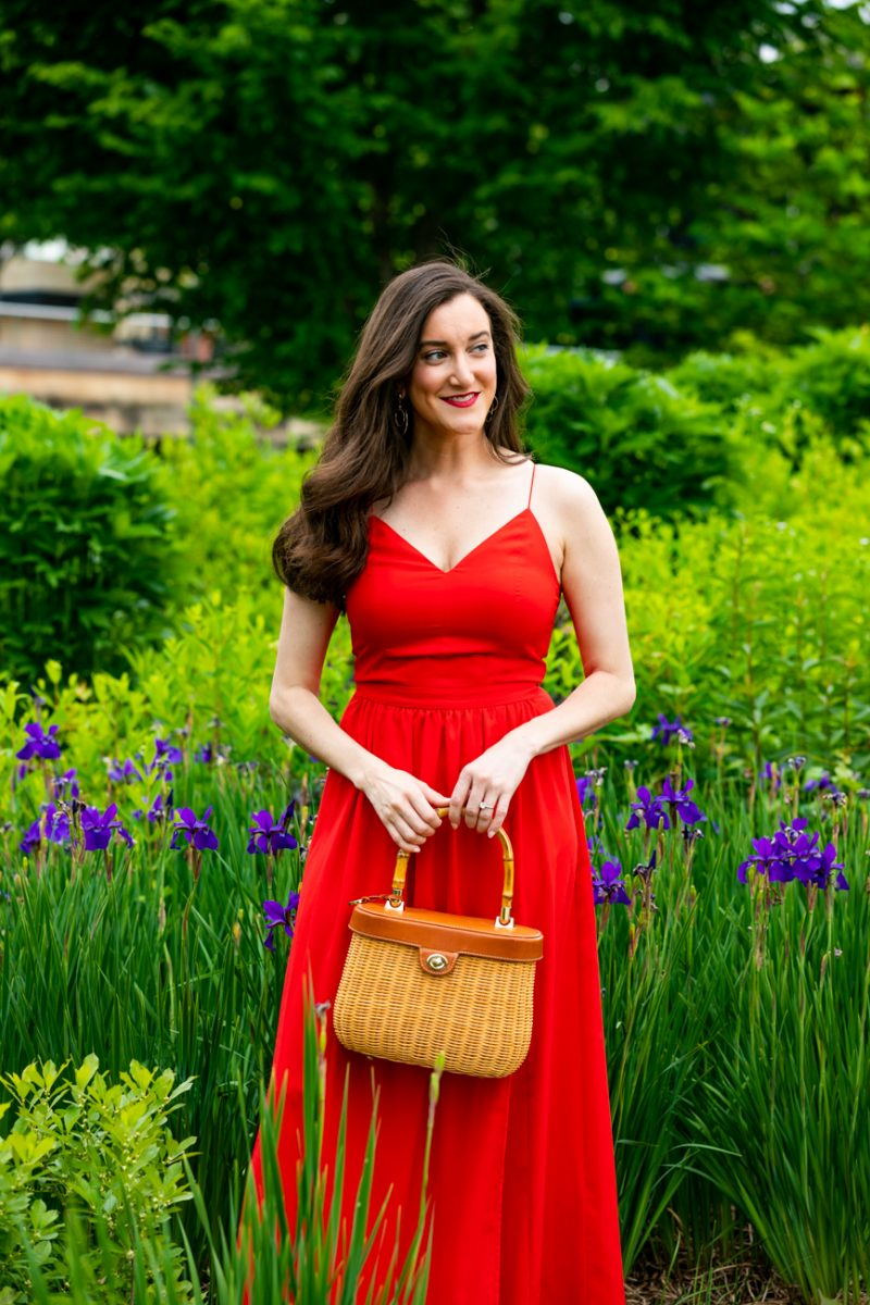 Red maxi dress worn by fashion blogger Baubles to Bubbles