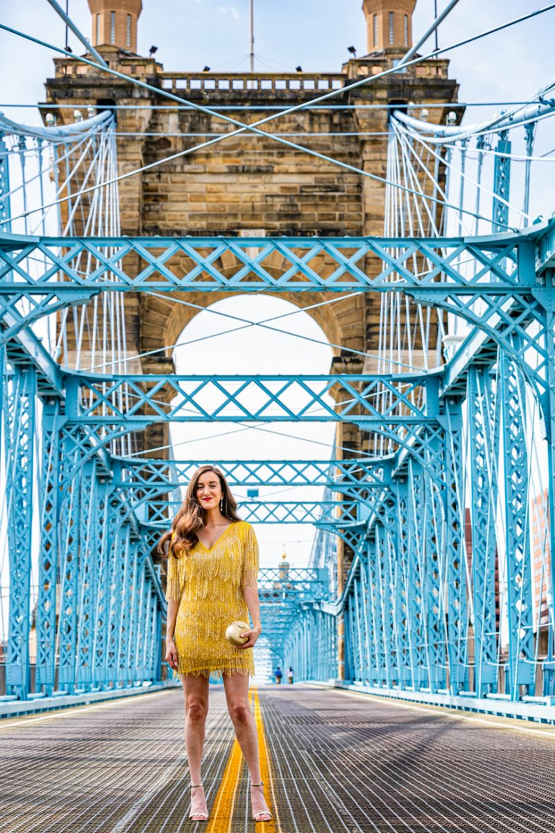 beaded dress on the Roebling Bridge