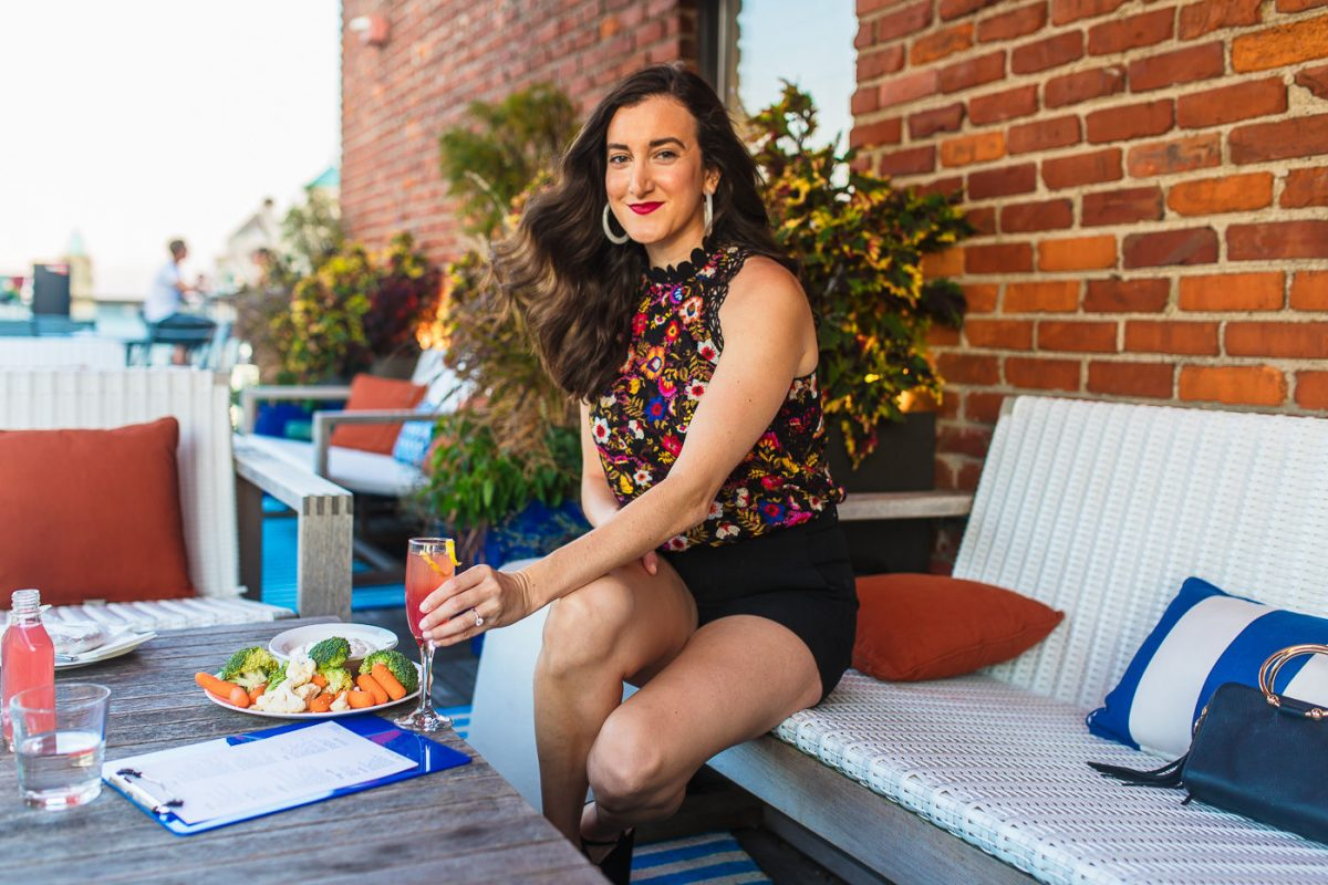 Cincinnati blogger Olivia Johnson of Baubles to Bubbles at the 21c hotel rooftop bar