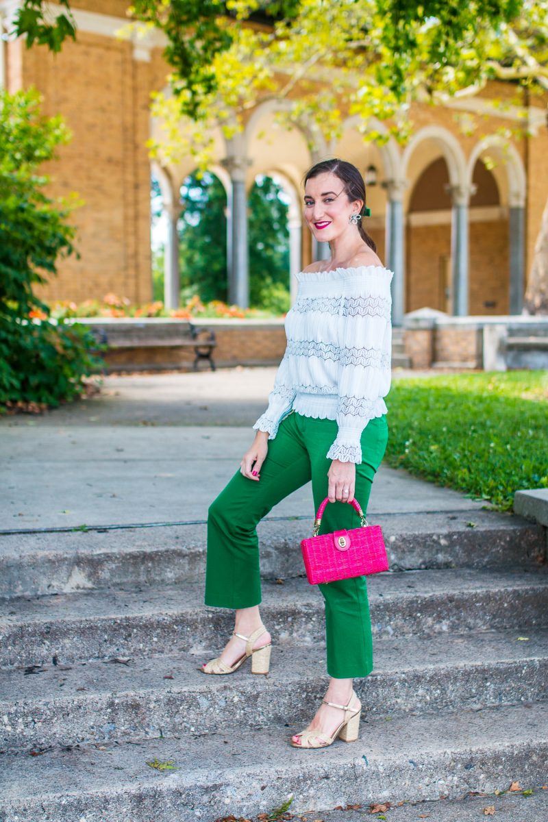 Feminine green and white outfit with a velvet bow