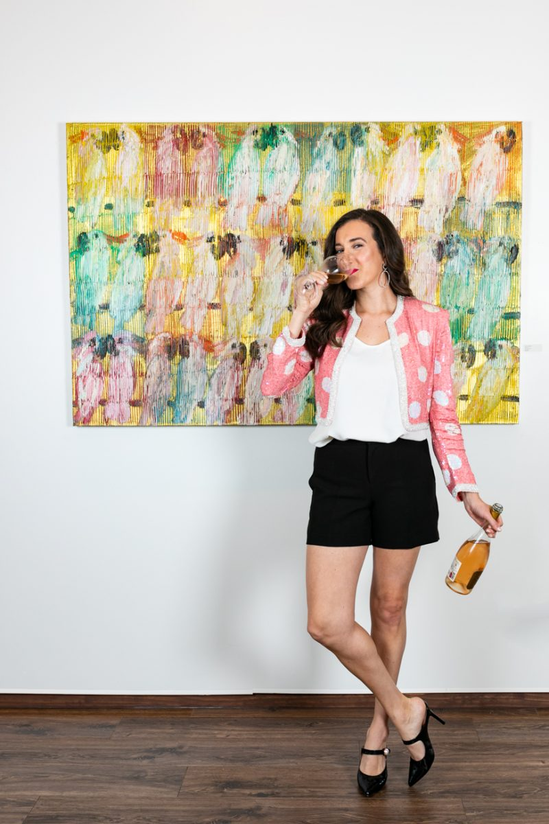Hunt Slonem art with fashion blogger Baubles to Bubbles