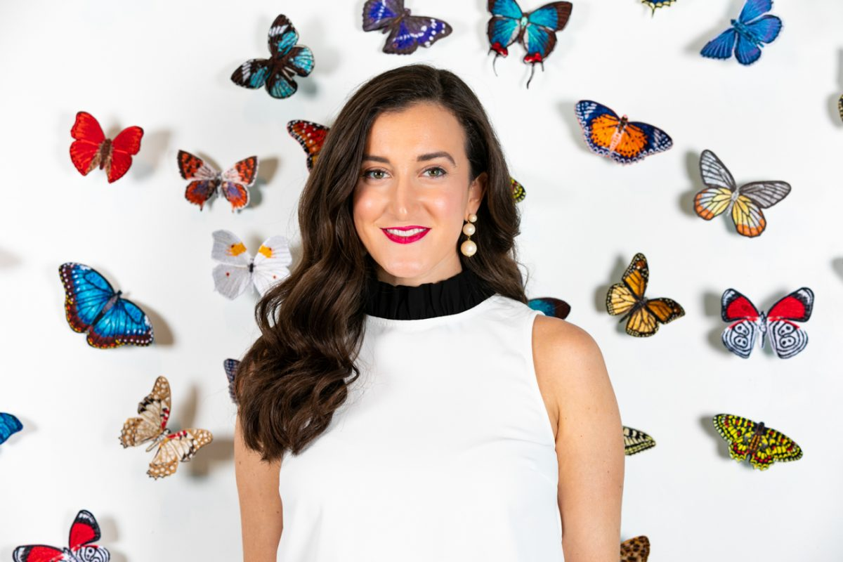 Stephen Wilson embroidered butterflies with blogger Olivia Johnson
