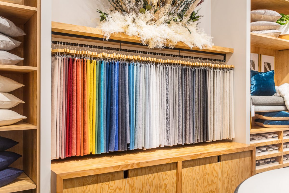 Fabric swatches at store in Cincinnati, Ohio
