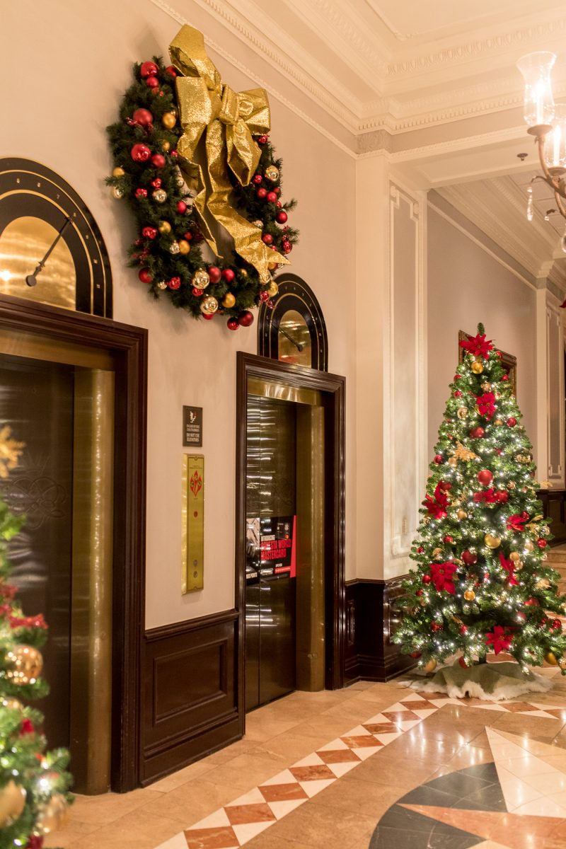 Holiday decor at luxury hotel The Chase Park Plaza in St. Louis