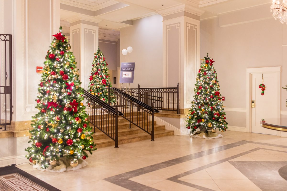 The lobby at The Chase Park Plaza in St. Louis decorated for Christmas