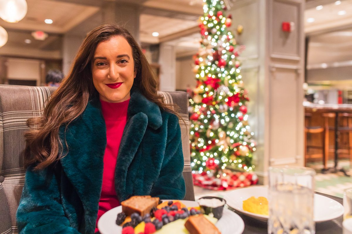 Olivia Johnson of Baubles to Bubbles dines at the restaurant at the Chase Park Plaza hotel in St. Louis