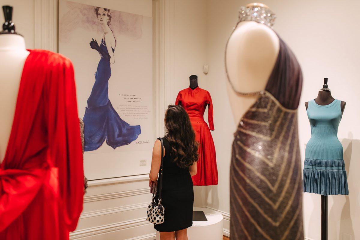 Fashion blogger Olivia Johnson at the Distinctly Paramount exhibition at Decorative Arts Center of Ohio