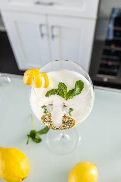 Italian Sgroppino cocktail with Loren Hope lemon earrings