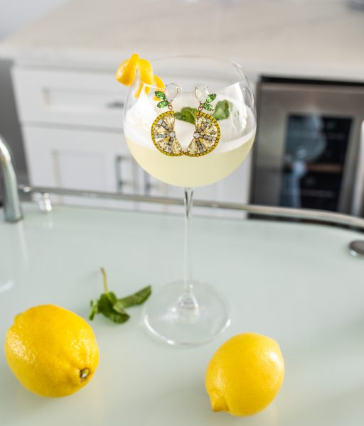 Sgroppino cocktail with lemon earrings