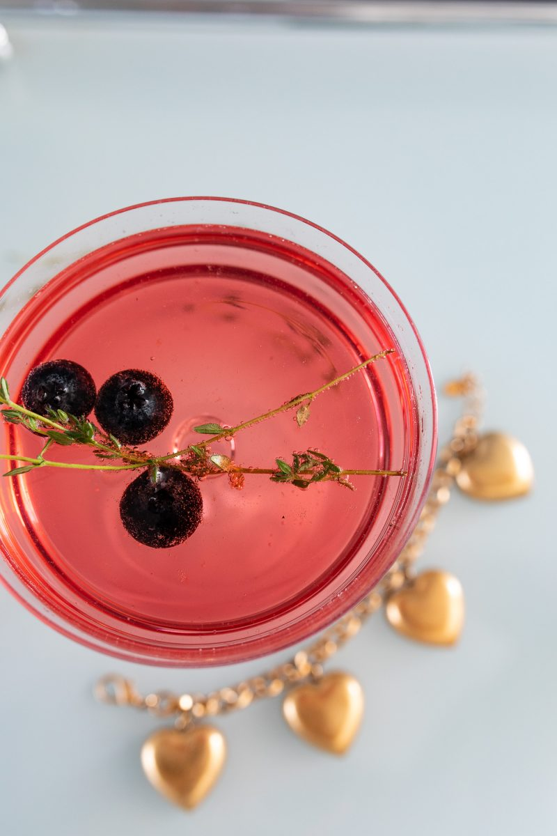 Blueberry Thyme Cocktail with Gold Heart Charm Bracelet