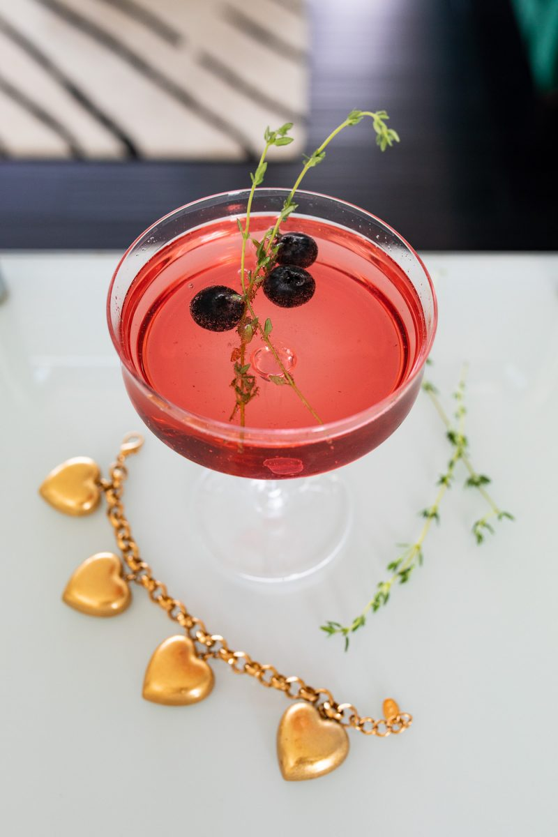 Sparkling Blueberry Thyme Cocktail