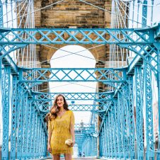 Yellow Beaded Dress on the Roebling Bridge