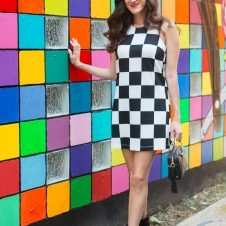 Checkered Dress and Colorful Murals